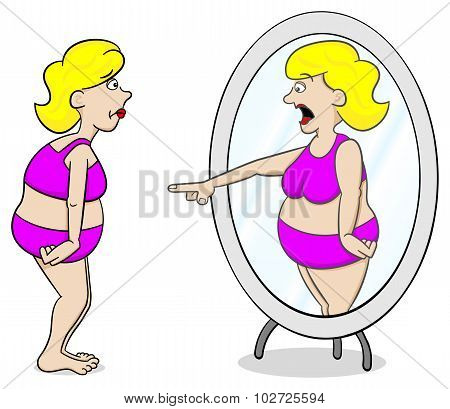 Thick Woman Looks In The Mirror