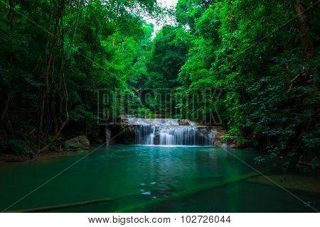 Green Scene At Erawan Waterfall, Erawan National Park
