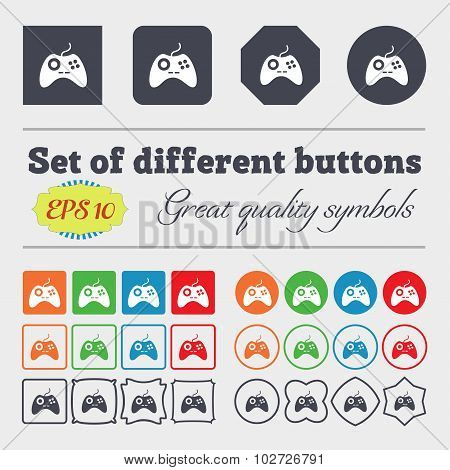 Joystick Sign Icon. Video Game Symbol. Big Set Of Colorful, Diverse, High-quality Buttons. Vector
