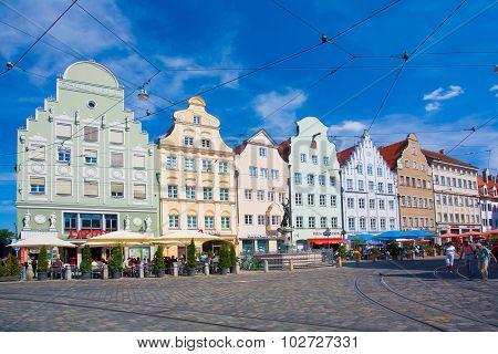Gabled Houses At Moritz Square, Augsburg, Bavaria, Germany