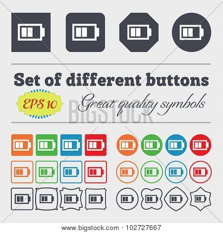 Battery Half Level Sign Icon. Low Electricity Symbol. Big Set Of Colorful, Diverse, High-quality But