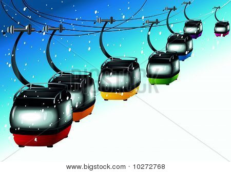 Gondolas on cableways - skiing time