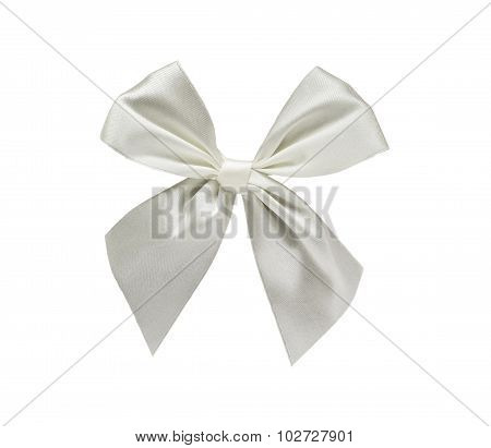 White ribbon bow isolated