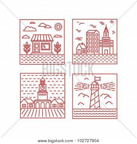 Vector Set Of City Illustrations In Trendy Linear Style