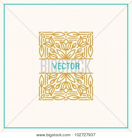 Vector Linear Frame And Floral Background With Copy Space For Text - Abstract Labels For Packaging