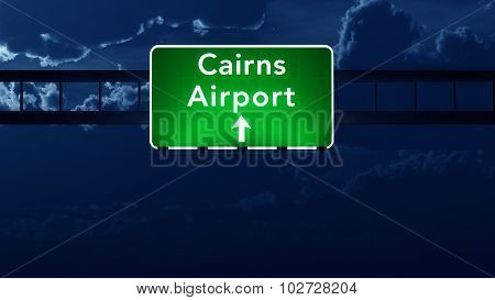 Cairns Australia Airport Highway Road Sign At Night