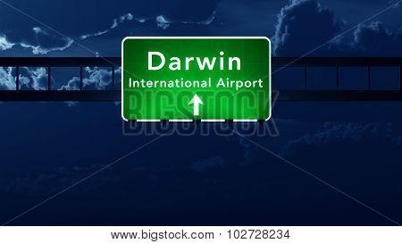 Darwin Australia Airport Highway Road Sign At Night