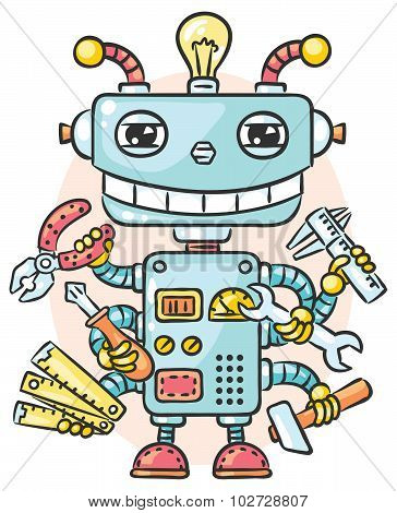 Cute Robot With Six Hands Holding Different Working Tools