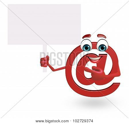 Cartoon Character Of At The Rate Sign With Sign
