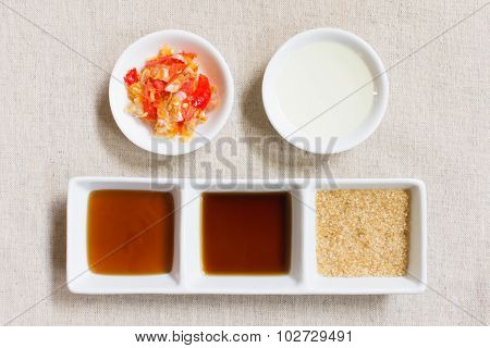 Seasoning Or Ingredient Of Thai Food. Granulated Sugar And Soy And Oyster