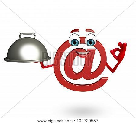 Cartoon Character Of At The Rate Sign With Pan