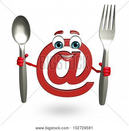 Cartoon Character Of At The Rate Sign With Spoon