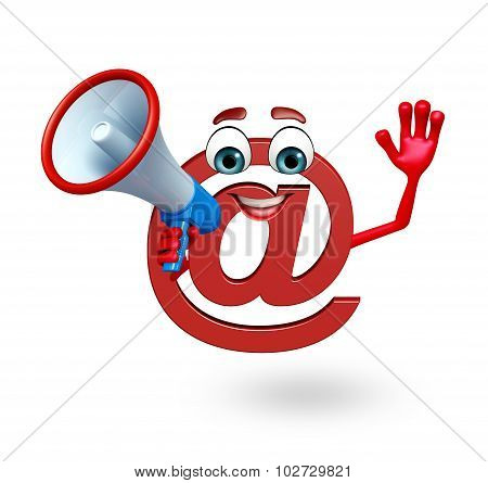 Cartoon Character Of At The Rate Sign With Loudspeaker