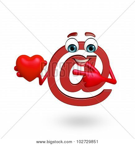 Cartoon Character Of At The Rate Sign With Heart Shape