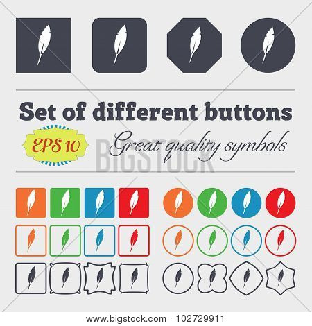 Feather Sign Icon. Retro Pen Symbo. Big Set Of Colorful, Diverse, High-quality Buttons. Vector