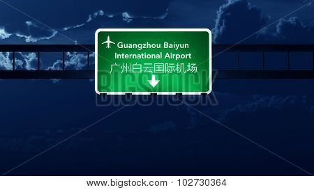 Guangzhou China Airport Highway Road Sign At Night