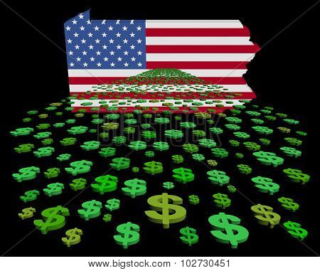 Pennsylvania map flag with abstract dollars illustration