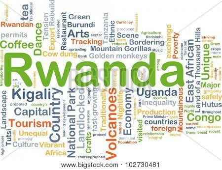 Background concept wordcloud illustration of Rwanda