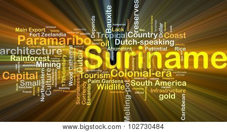 Background concept wordcloud illustration of Suriname glowing light