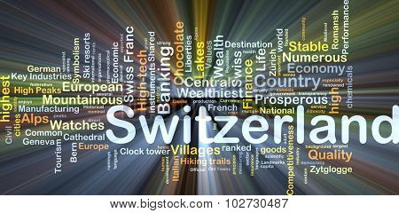Background concept wordcloud illustration of Switzerland glowing light