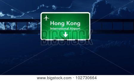 Hong Kong China Airport Highway Road Sign At Night