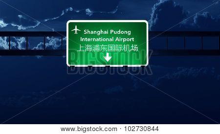 Shanghai China Airport Highway Road Sign At Night