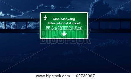 Xian China Airport Highway Road Sign At Night