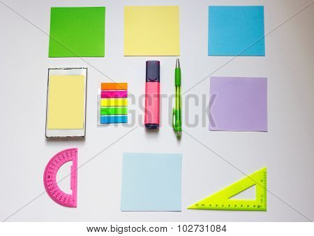 Template palette in Google material. paper, tablet , phone, pen, sticky note , line, marker