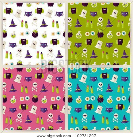 Flat Magic Halloween Witch Seamless Pattern Set