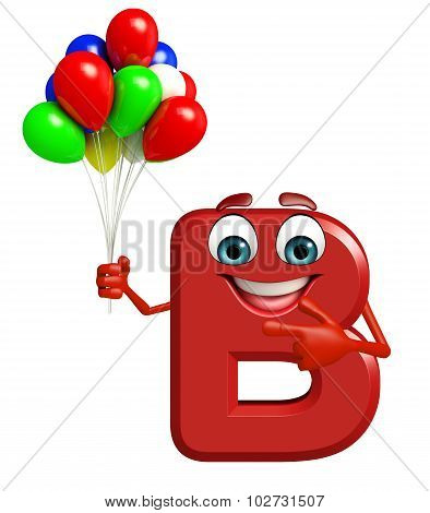 Cartoon Character Of Alphabet B With Balloons