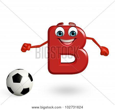 Cartoon Character Of Alphabet B With Football
