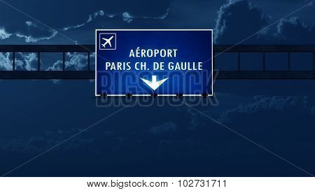 Paris Roissy De Gaulle France Airport Highway Road Sign At Night