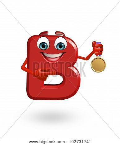 Cartoon Character Of Alphabet B With Medal