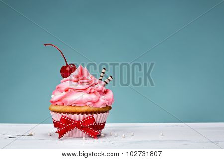 Vintage Cupcake With Cherry On Top