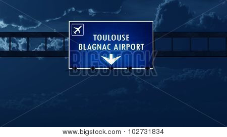 Toulouse France Airport Highway Road Sign At Night