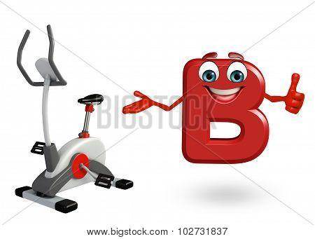 Cartoon Character Of Alphabet B With Exercising Machine