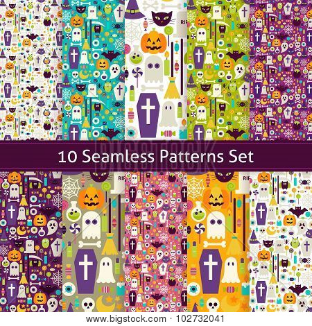 Ten Vector Flat Seamless Halloween Party Patterns Set