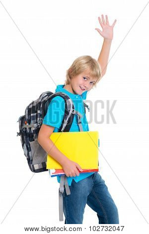 Blond Boy With Satchel And Haft