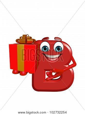 Cartoon Character Of Alphabet B With Gift Box