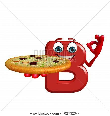 Cartoon Character Of Alphabet B With Pizza