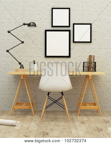 Working Room Interior Design 3D Rendering