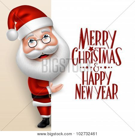 Realistic Santa Claus Cartoon Character Showing  Merry Christmas Tittle