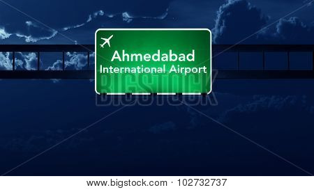 Ahmedabad India Airport Highway Road Sign At Night