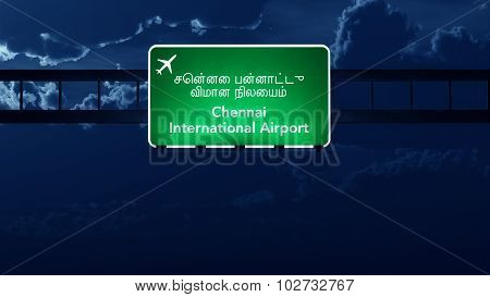 Chennai India Airport Highway Road Sign At Night