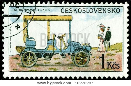 Vintage Postage Stamp. Old-time Classical Cars. 3.