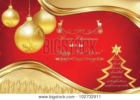 Golden red celebration greeting card, also for print