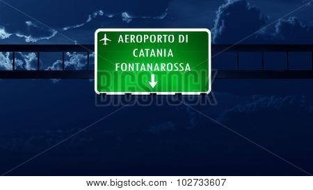 Catania Italy Airport Highway Road Sign At Night