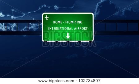 Roma Fiumicino Italy Airport Highway Road Sign At Night
