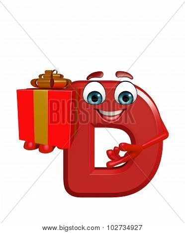 Cartoon Character Of Alphabet D With Gift Box