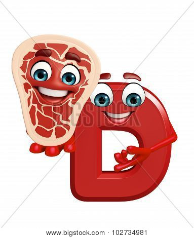 Cartoon Character Of Alphabet D With Meat Steak